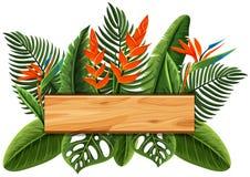 Drewniana deska z ptakiem raj w tle ilustracja wektor