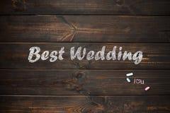 Drewniana deska z słowami: Kocham ciebie, piszę z biel kredą Zdjęcie Royalty Free