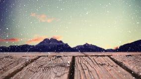 Drewniana deska z widokiem gór zbiory wideo