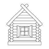 Drewniana domowa ikona w konturu stylu odizolowywającym na białym tle Rosyjska kraju symbolu zapasu wektoru ilustracja Obraz Royalty Free