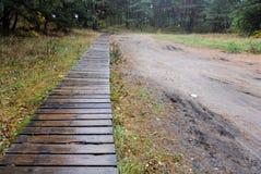 drewniana droga i piaskowata droga przez łąki zielona trawa i t Obrazy Stock