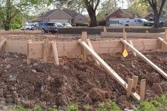 Drewniana formwork betonowego paska podstawa dla nowego domu Obraz Stock