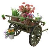Drewniana fura i kwiatów garnki zdjęcia royalty free