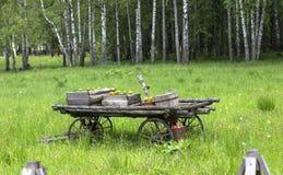 Drewniana fura z kwiatami w polu obraz stock