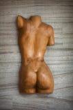 Drewniana gładka istota ludzka plecy rzeźba fotografia stock