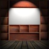 Drewniana gabinetowa półka Zdjęcie Stock