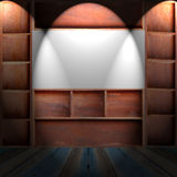 Drewniana gabinetowa półka Zdjęcie Royalty Free