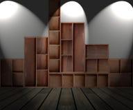 Drewniana gabinetowa półka Obrazy Stock