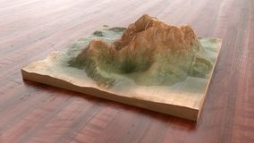 Drewniana handcrafted góra - 3D rendering ilustracji
