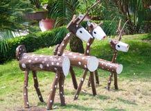 Drewniana jelenia rodzina Zdjęcie Stock