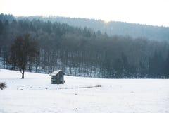 Drewniana kabina w polu z śniegiem w zimie, białej Fotografia Royalty Free