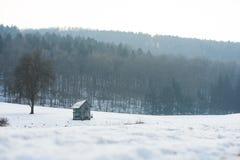 Drewniana kabina w polu z śniegiem w zimie, białej Zdjęcia Royalty Free