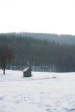 Drewniana kabina w polu z śniegiem w zimie, białej Obraz Stock