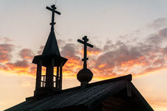 Drewniana kaplica w polu Fotografia Stock
