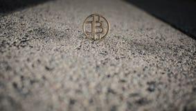Drewniana kawałek moneta w słonecznym dniu na miasto ulicie obraz royalty free