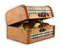 Drewniana klatka piersiowa złoto Obraz Stock