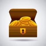 Drewniana klatka piersiowa z złocistymi monetami ilustracji