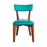 Drewniana krzesło zieleni skóra odizolowywająca z ścieżką fotografia stock