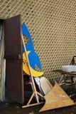 Drewniana księżyc i rakieta Fotografia Royalty Free