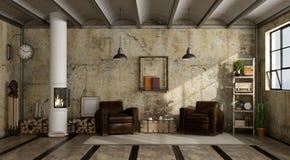 Drewniana kuchenka w grunge żywy pokój royalty ilustracja