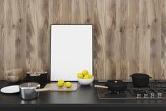 Drewniana kuchnia, countertop, frontowy widok ilustracja wektor