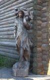 Drewniana Lasowa Czarodziejska kobiety rzeźby fotografia Obrazy Royalty Free