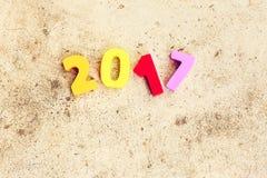 Drewniana liczba 2017 dla nowy rok świętowań Obraz Royalty Free