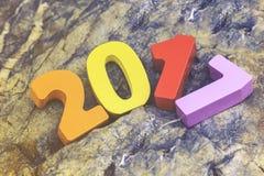 Drewniana liczba 2017 dla nowy rok świętowań Zdjęcia Stock