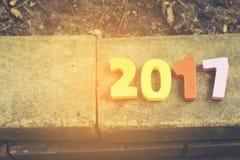 Drewniana liczba 2017 dla nowy rok świętowań Obraz Stock