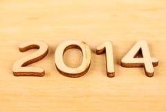 Drewniana liczba w 2014. Nowy Rok Obraz Royalty Free