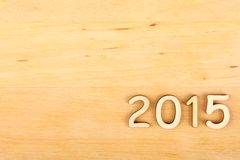 Drewniana liczba w 2015. Nowy Rok Fotografia Royalty Free