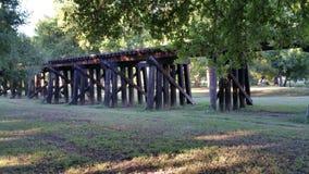 Drewniana linii kolejowej kobyłka Zdjęcia Royalty Free