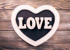 Drewniana list miłość Obrazy Royalty Free