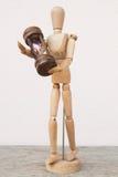 Drewniana mannequin i hourglass czasu czułość Obrazy Royalty Free