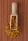 Drewniana miarka z złotymi rodzynkami Obrazy Royalty Free