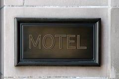 drewniana motel plakieta fotografia stock