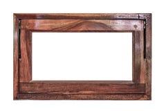 Drewniana nadokienna rama odizolowywająca na białym tle Zdjęcia Stock