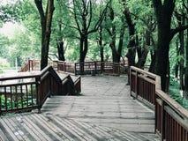 Drewniana nawa w parku obrazy stock