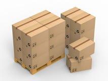 Drewniana paleta z kartonami na białym tle ilustracja 3 d Fotografia Stock