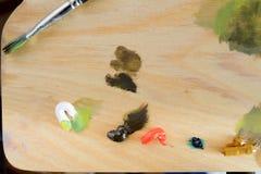 Drewniana paleta Z opierać się farbami Zdjęcie Royalty Free