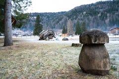 Drewniana pieczarka w parku zdjęcie royalty free