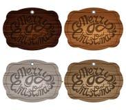 Drewniana plakieta na tle, odizolowywającym List na tle drewniane deski w różnych kolorach również zwrócić corel ilustracji wekto Zdjęcie Stock