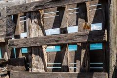Drewniana po??w cha?upa na pla?y w Formentera wyspie, Hiszpania obraz stock