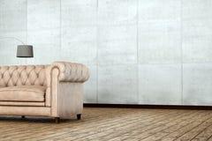 Drewniana podłoga i bielu ścienny pokój świadczenia 3 d Obrazy Royalty Free