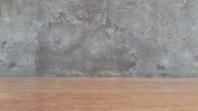 Drewniana podłoga z cement ściany tłem obraz stock