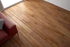 Drewniana podłogowa tekstura z czerwienią Obraz Royalty Free