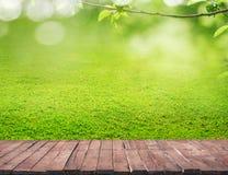 Drewniana podłoga i trawa Obrazy Stock