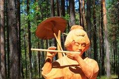Drewniana postać Japońska kobieta obraz royalty free
