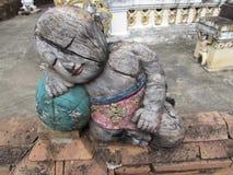 Drewniana postać Wat Chai Mongkol Obraz Royalty Free