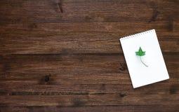 Drewniana pracująca przestrzeń z notatką i bluszcz leaf Odgórny widok Fotografia Royalty Free